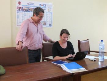 Geneviève and Guy in the office of Caritas Burkina Faso – OCADES in Ouagadougou