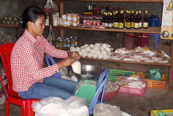 Cambodge jardin communautaire géré par la coopérative du village