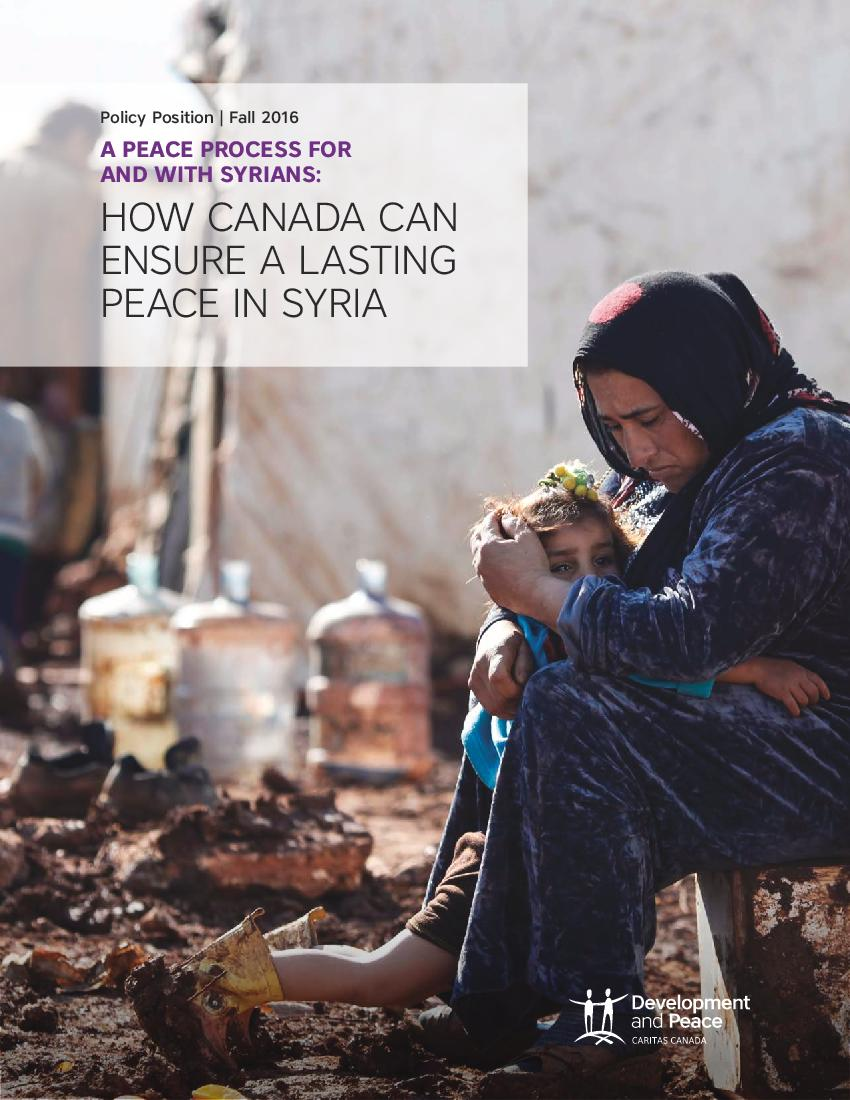 A Peace Process for and with Syrians: How Canada Can Ensure a Lasting Peace in Syria