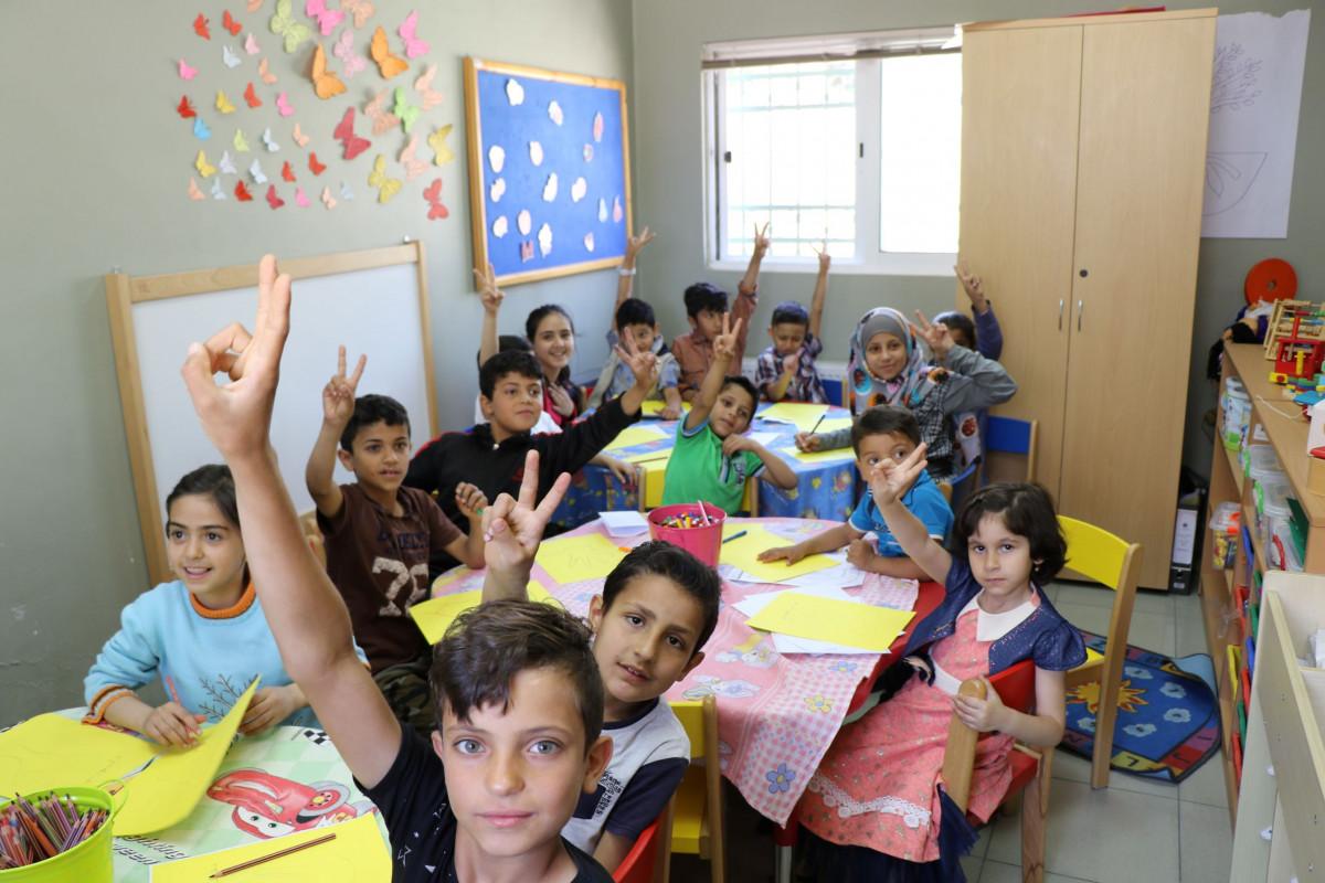 enfants dans un centre d'apprentissage en Jordanie