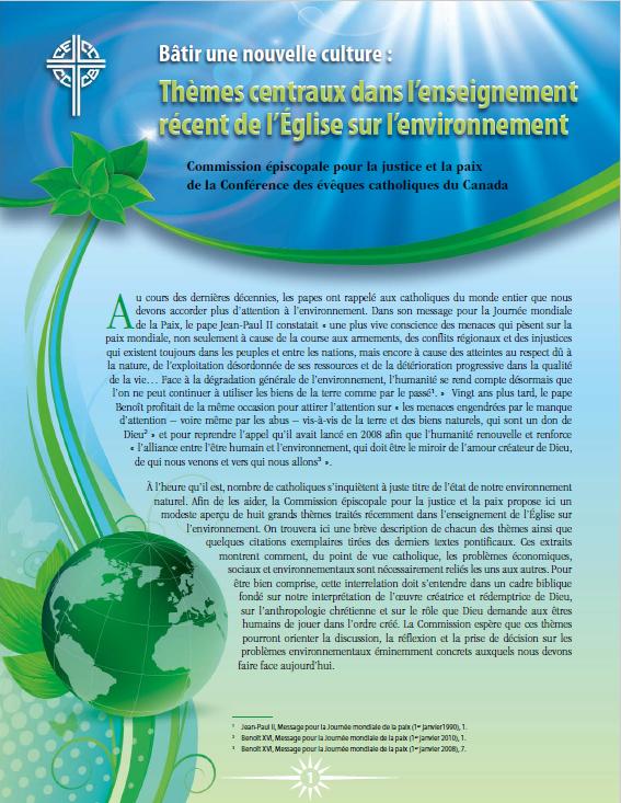 Bâtir une nouvelle culture : Thèmes centraux dans l'enseignement récent de l'Église sur l'environnement